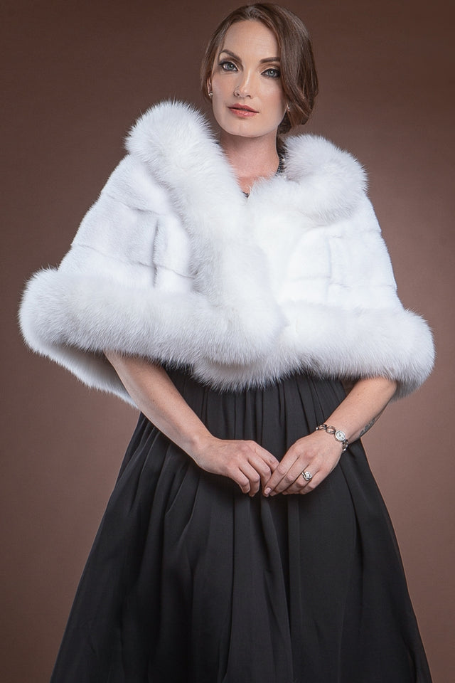 White EM-EL Traditional Horizontal Mink - Fox Fur Cape