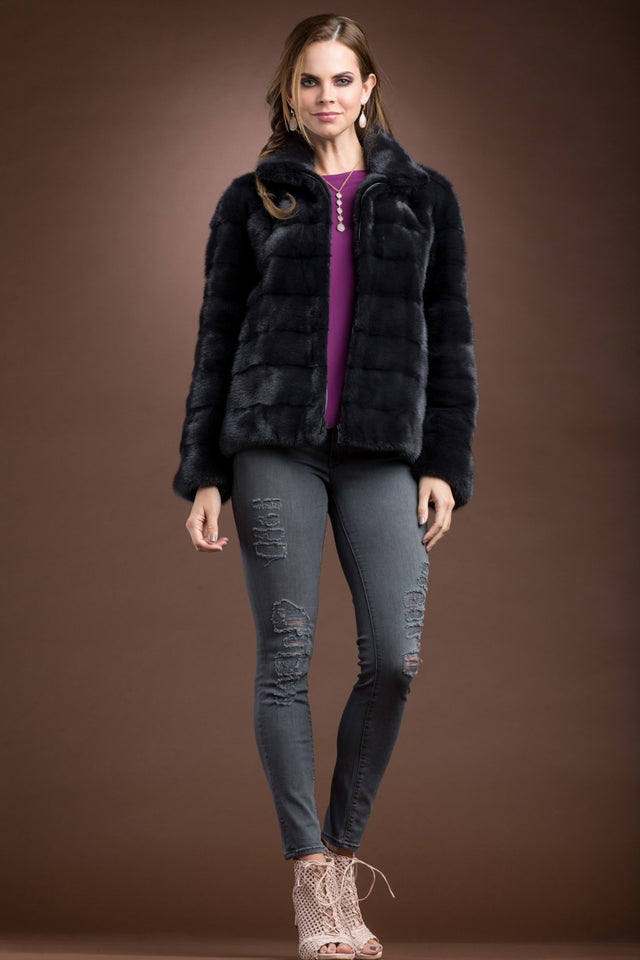 Slate Mink Horizontal Fur Zip Jacket