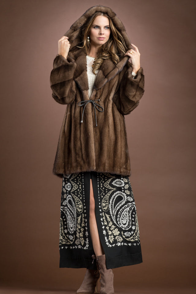 Hooded Demi-Buff Mink Mid-Length Fur Anorak