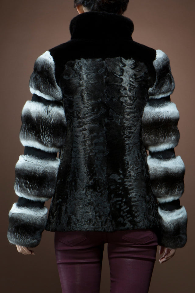 Zandra Rhodes Black Swakara, Chinchilla and Mink Fur Jacket
