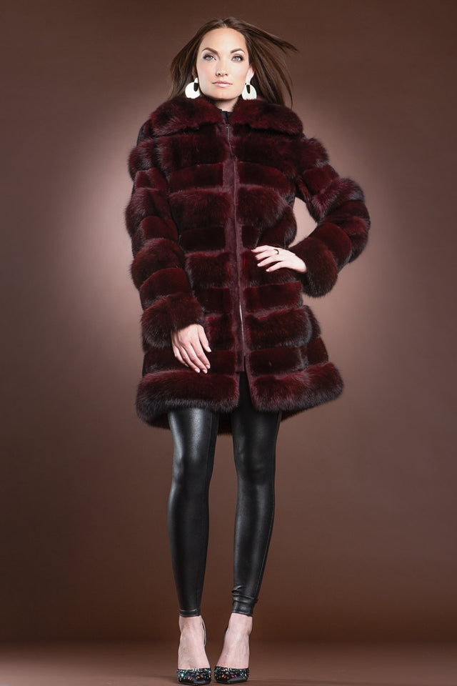 Red Jewel Horizontal Zip-Up Sable and Mink Mid-Length Fur Coat
