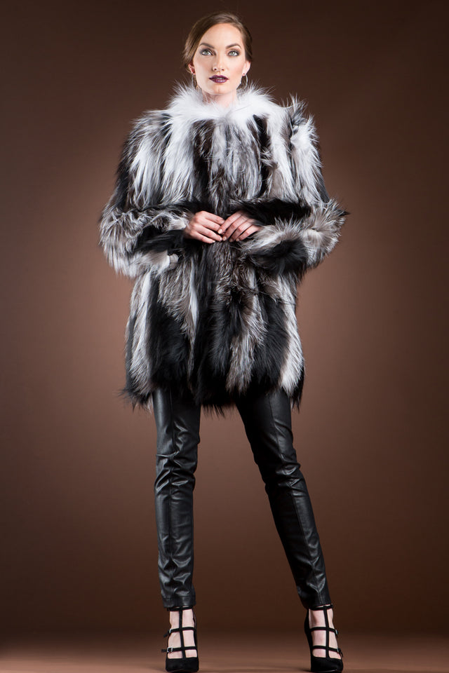 Arctic Marble, Silver & Black Sliver Fox on Jersey Mid-Length Fur Coat