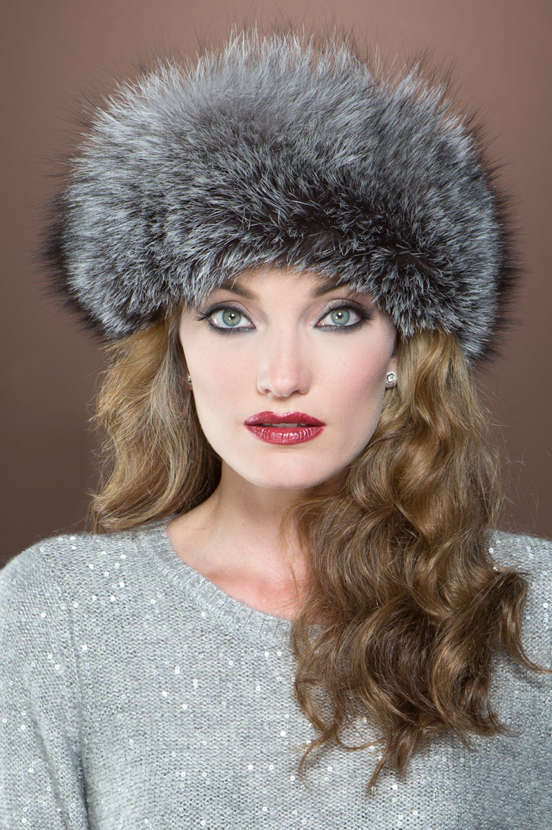 Gray  Lenore Marshall Cashmere Knit and Fox Fur Brim Hat