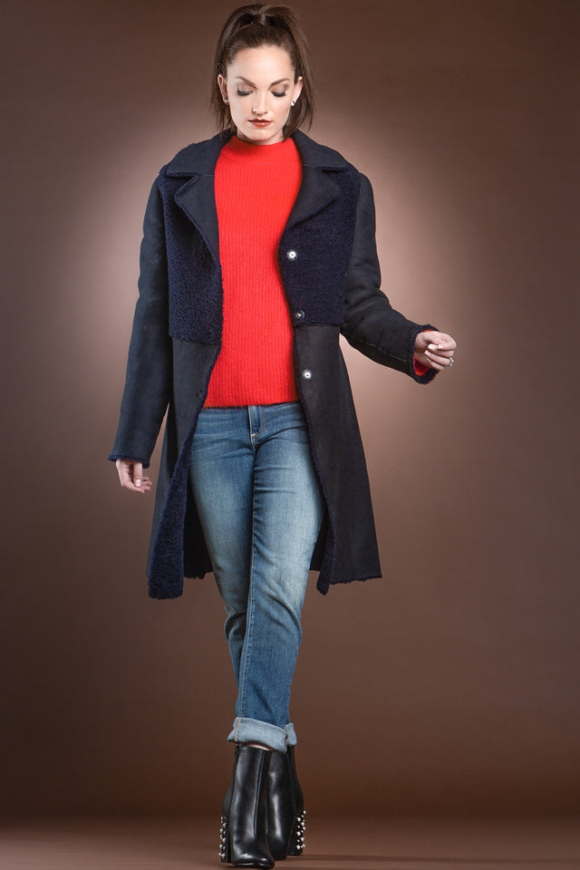 Navy Blue Double Faced Mid-Length Shearling Coat
