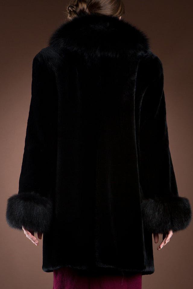 Black EM-EL Black Sheared Beaver & Fox Mid-Length Fur Coat