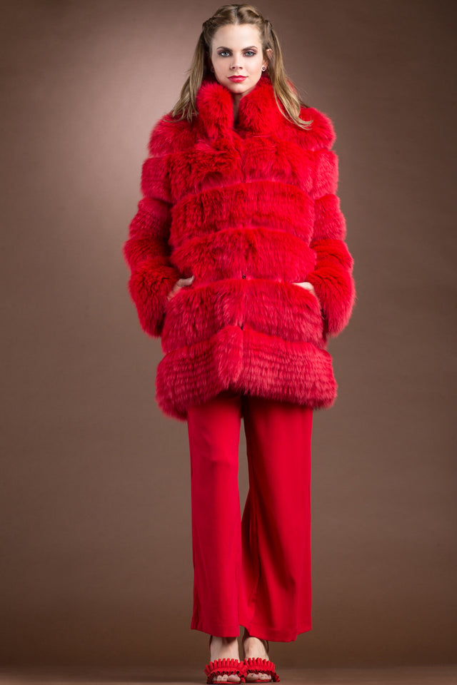 Red Shadow Fox Mid-Length Fur Coat