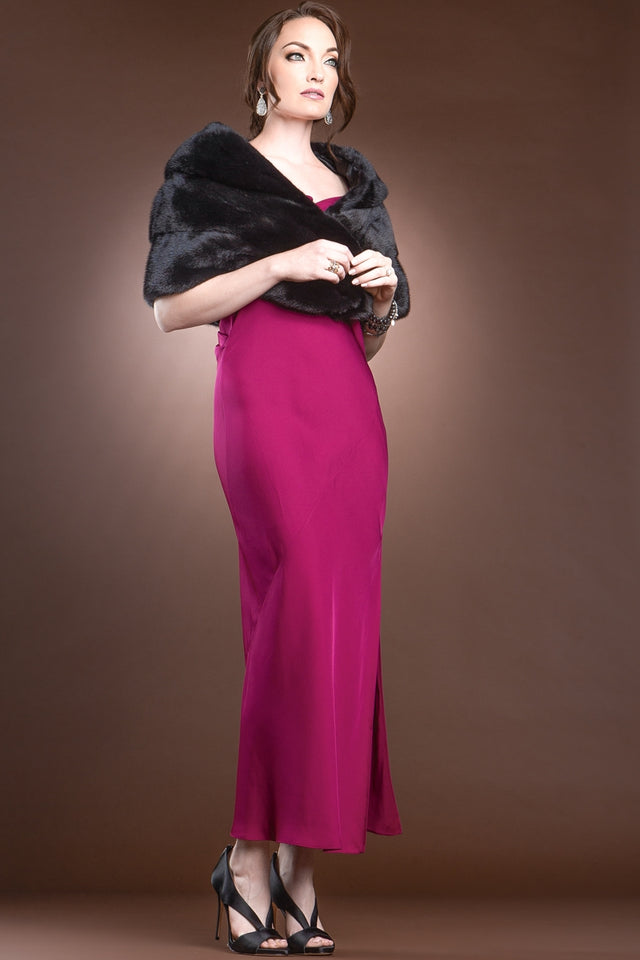 Elegant - Evening - Horizontal Mink Fur Cape