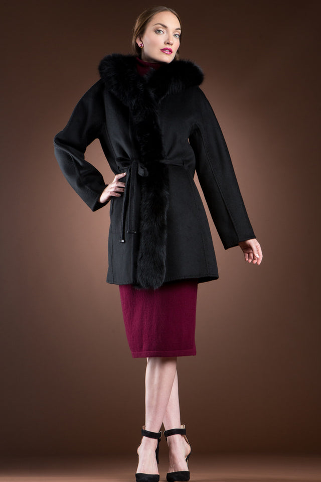 Hooded Black Fox Trimmed Cashmere Mid-Length Coat with Detachable Mink Fur Vest