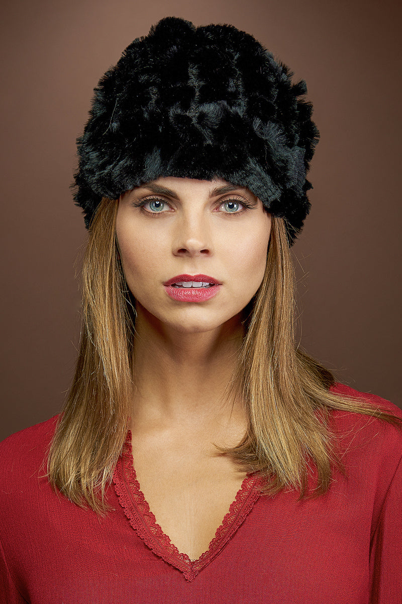 Black EM-EL Rex Rabbit Knitted Fur Cap