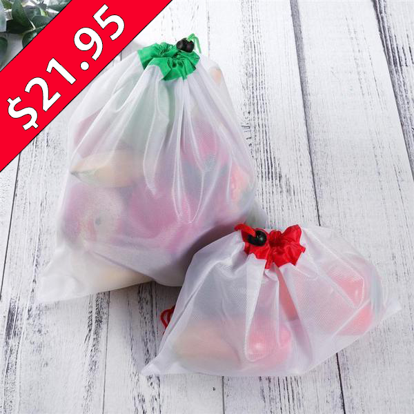 $8 OFF SPECIAL - Zero-Waste Reusable Produce Bags - 12pcs
