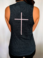 Psalms 46:10 Slim Fit Sleeveless Top - Grey/Navy
