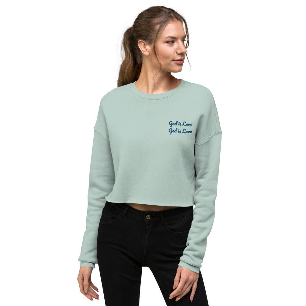 God is Love Embroidered Crop Sweatshirt