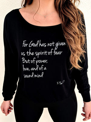 2 Timothy 1:7 Long Sleeve Loose Fit - Black