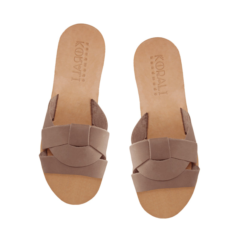 NEFELI Favored Leather Flat Slippers