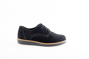 BETHANY Black suede leather oxford shoes
