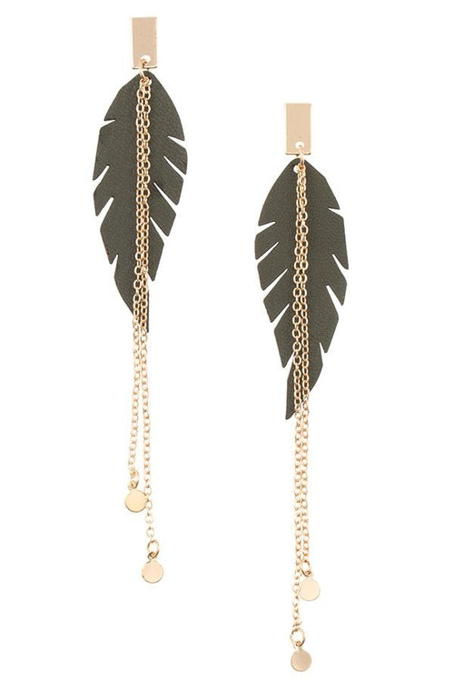 Link Chain Faux Feather Drop Earring