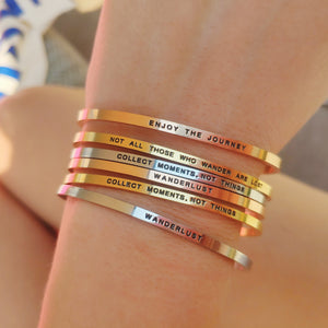 Mantra band for women- Silver, gold, rose gold - Travel Gift - Vagabond Life