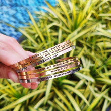 Load image into Gallery viewer, Mantra band for women - Wanderlust - Silver, gold, rose gold - Travel Gift - Vagabond Life