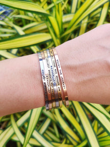 Mantra quote bracelet for women -  Silver, Gold, Rose Gold - Travel Gift - Vagabond Life