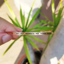 Load image into Gallery viewer, Mantra quote bracelet for women - Collect moments not things -  Rose Gold - Travel Gift - Vagabond Life