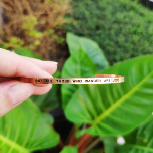 Mantra quote bracelet for women - Not all those who wander are lost - gold  - Travel Gift - Vagabond Life