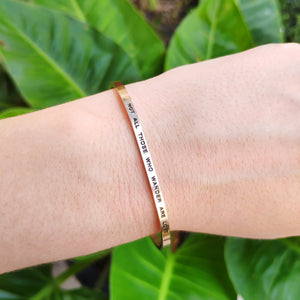 Mantra quote bracelet for women - Not all those who wander are lost -gold - Travel Gift - Vagabond Life
