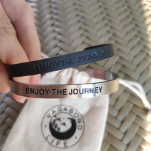 Load image into Gallery viewer, Mantra quote bracelet for men - Enjoy the journey - Black or Silver - Travel Gift - Vagabond Life