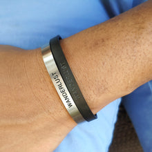 Load image into Gallery viewer, Mantra band for men - Wanderlust - Silver or Matte Black - Travel Gift - Vagabond Life