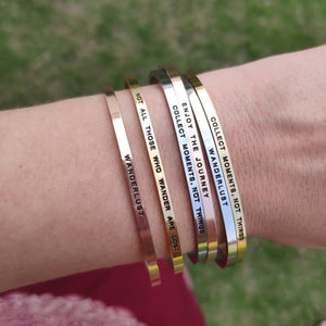 Mantra quote bracelet for women - Collect moments not things - Silver, Gold, Rose Gold - Travel Gift - Vagabond Life