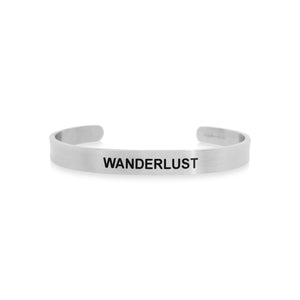 Mantra band for men - Wanderlust - Silver - Travel Gift - Vagabond Life