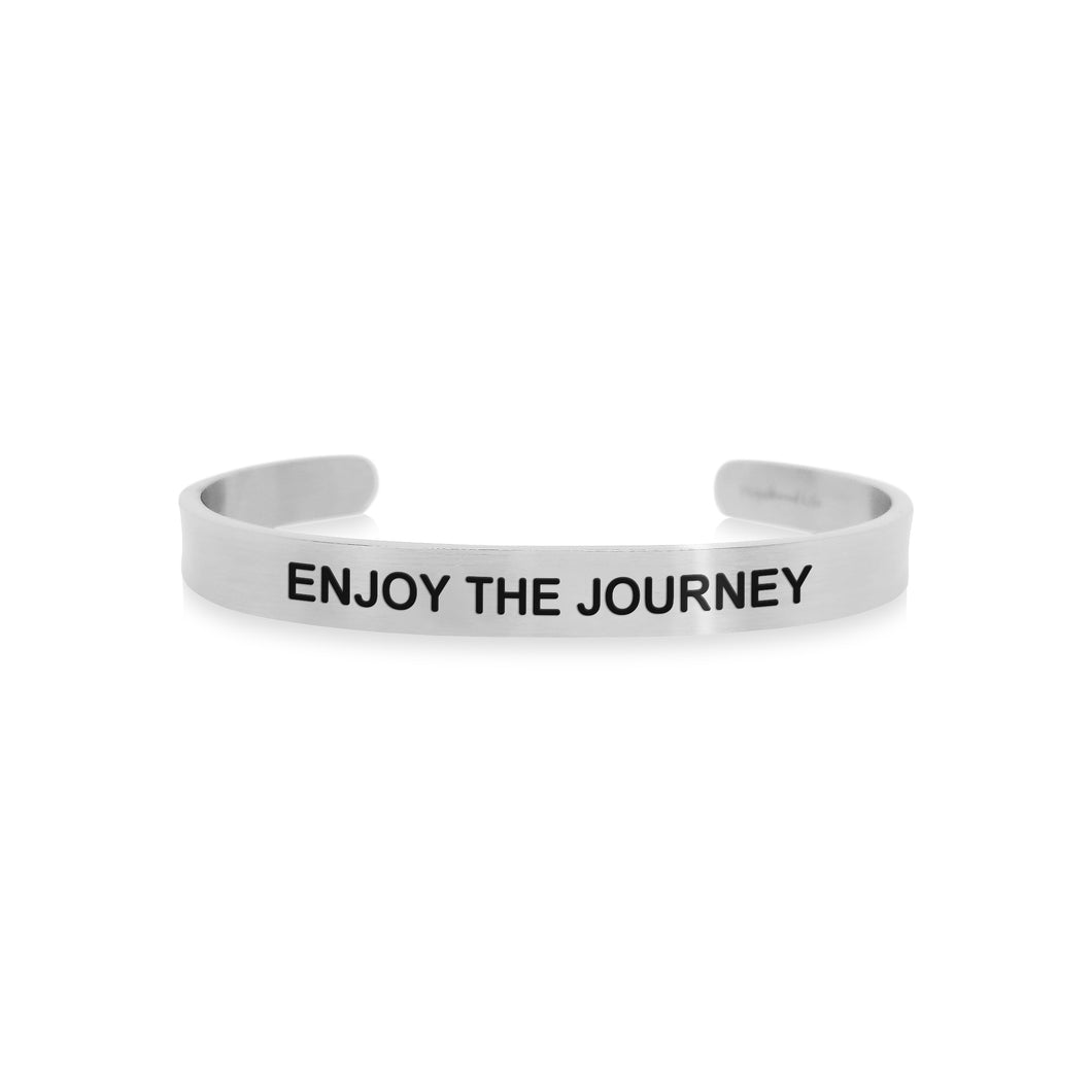 Mantra quote bracelet for men - Enjoy the journey - Silver - Travel Gift - Vagabond Life