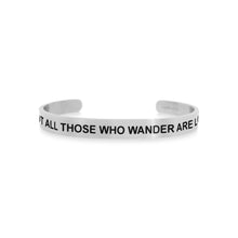Load image into Gallery viewer, Mantra quote bracelet for men - Not all those who wander are lost - Silver -  Travel Gift - Vagabond Life