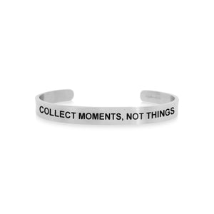 Mantra quote bracelet for men in Silver - Collect moments not things - Travel Gift - Vagabond Life