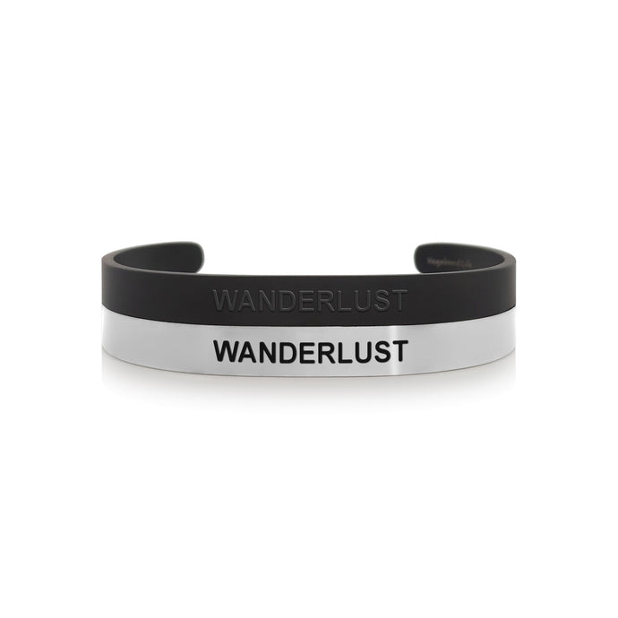 Mantra band for men - Wanderlust - Silver or Matte Black - Travel Gift - Vagabond Life