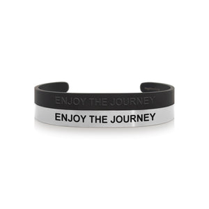 Mantra quote bracelet for men - Enjoy the journey - Black or Silver - Travel Gift - Vagabond Life