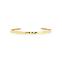Load image into Gallery viewer, Mantra quote bracelet for women - Wanderlust -  gold - Travel Gift - Vagabond Life