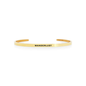 Mantra quote bracelet for women - Wanderlust -  gold - Travel Gift - Vagabond Life