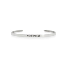 Load image into Gallery viewer, Mantra quote bracelet for women - Wanderlust - Silver - Travel Gift - Vagabond Life