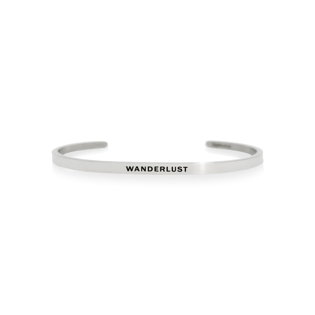 Mantra quote bracelet for women - Wanderlust - Silver - Travel Gift - Vagabond Life