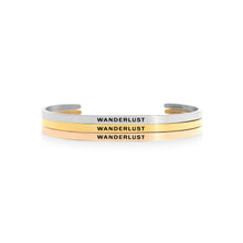 Load image into Gallery viewer, Mantra quote bracelet for women - Wanderlust - Silver, gold, rose gold - Travel Gift - Vagabond Life