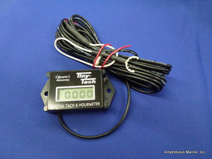 Inductive Tachometer/hour meter w/custom 14 ft. wire