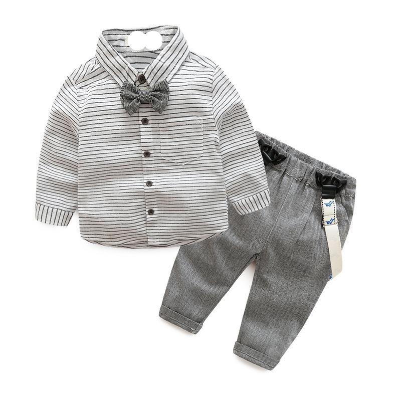 Long Sleeved Collar Shirt With Bow Tie and Suspender Pants Baby Boy (Gray & White)