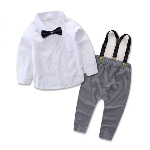 821bf0276 Collar Shirt with Bow Tie & Suspender Harem Pants 2pc. Set Baby Boy (Gray