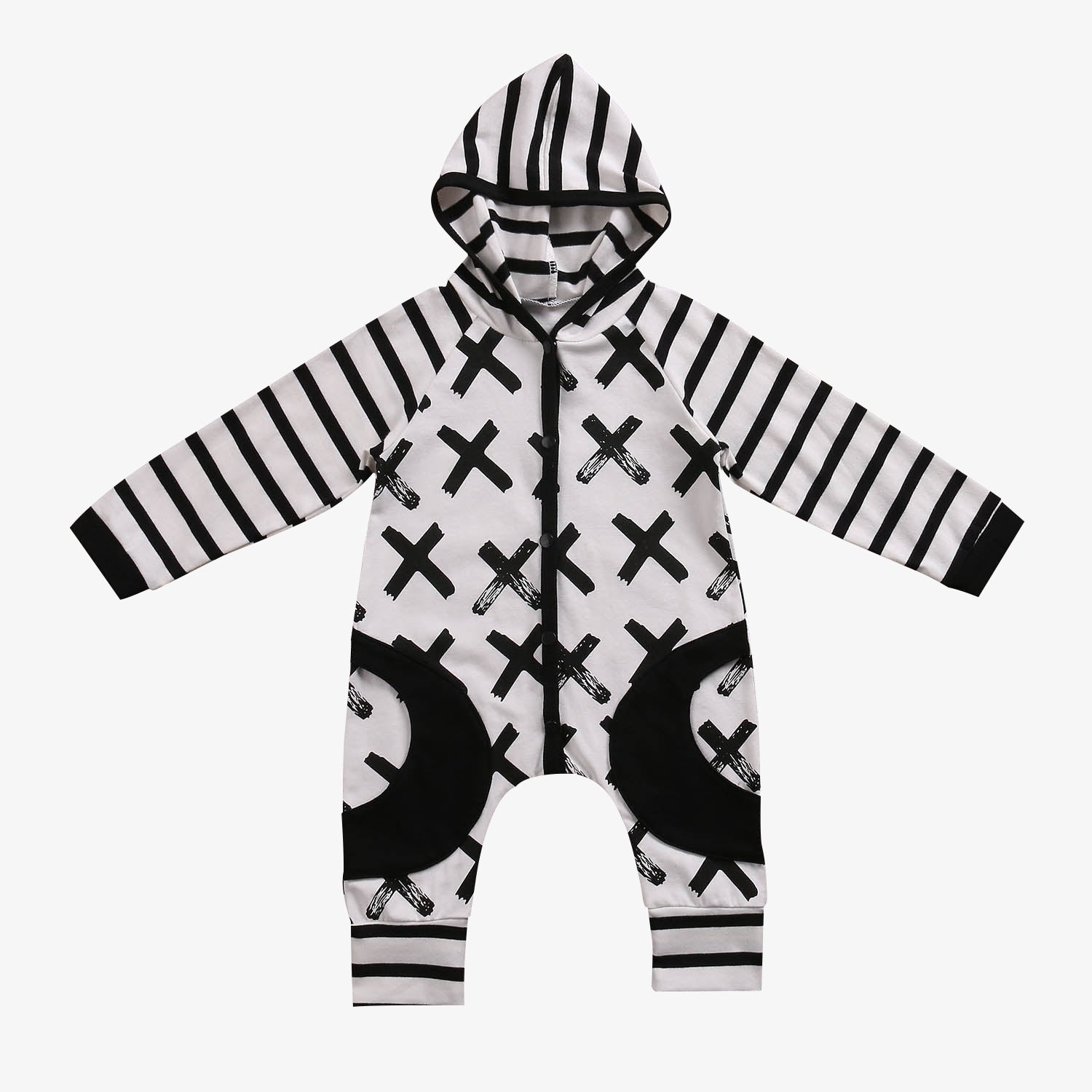 Stripes and X-Print ✖️ Hooded Long Sleeve Jumpsuit Baby Boy (White & Black)