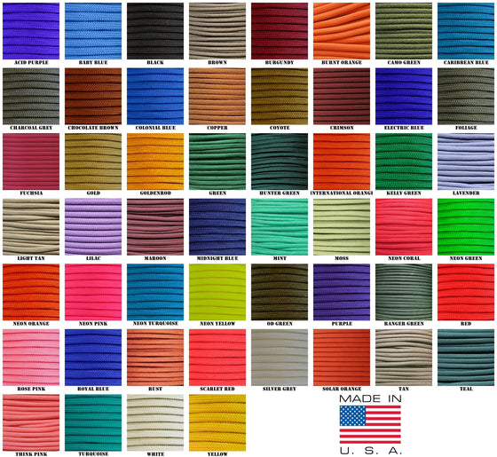 550 Paracord Solid Colors 50ft Hanks -  - Shop Robbys - 1