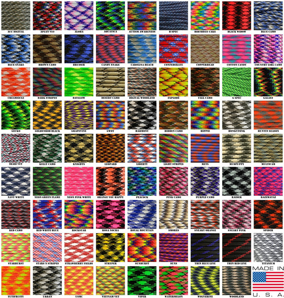 550 Paracord Camo and Patterns 50ft Hanks -  - Shop Robbys - 1