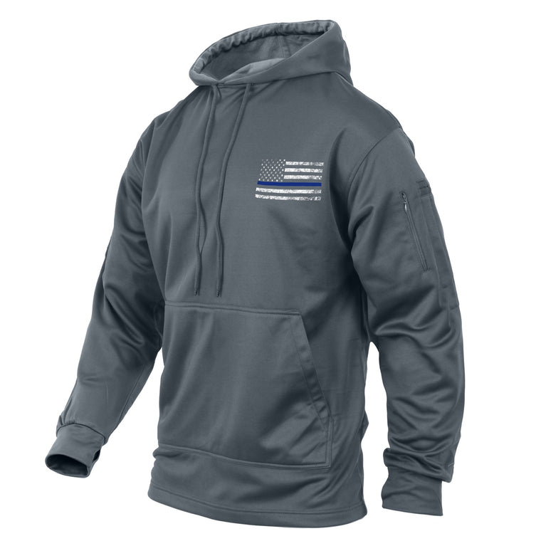 Rothco Thin Blue Line Concealed Carry Hoodie Gray