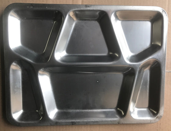 USED GI Issue Stainless Meal Tray - 6 Compartment