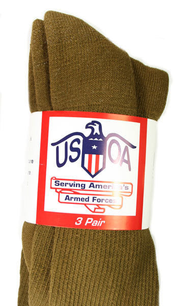 USOA Military Antimicrobial Crew Socks - Coyote / SM - Shop Robbys - 3