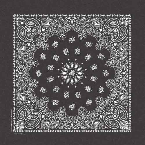 100% Cotton Stonewash Paisley Bandanas - Black - Shop Robbys - 2